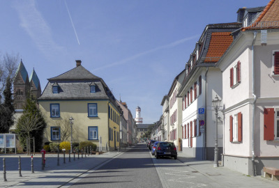 Looking down the street toward the castle